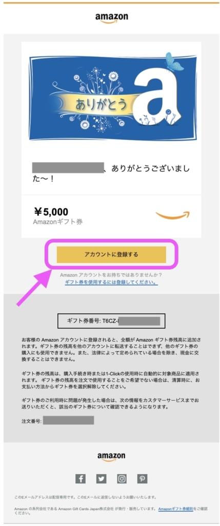 Amazonギフト券のメール内容